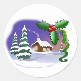 Christmas Scene Classic Round Sticker