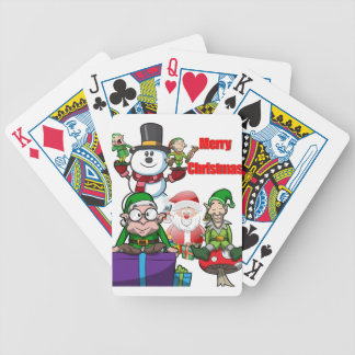 Christmas Scene Elfs Snowman Santa Bicycle Playing Cards
