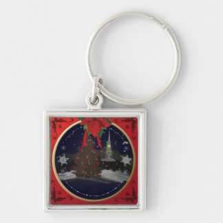 Christmas Scene Silver-Colored Square Key Ring