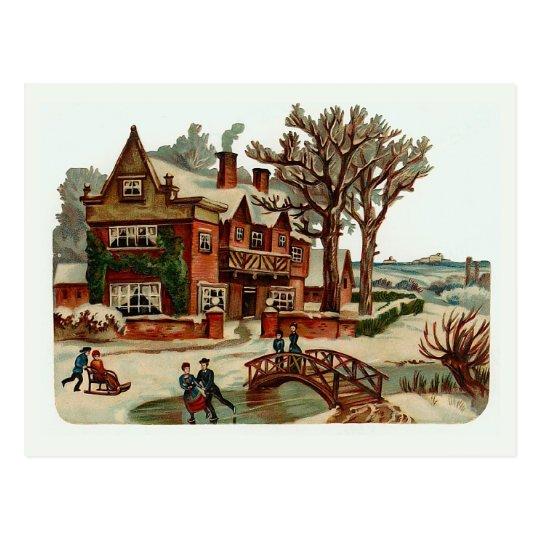 """""""Christmas Scene"""" Vintage Postcard"""