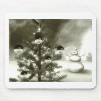 christmas scene winter night mouse pad