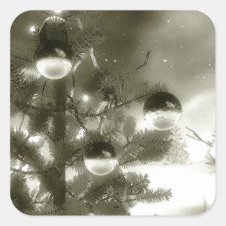 christmas scene winter night square sticker