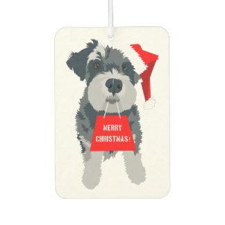 Christmas Schnauzer Dog Santa Hat Air Freshener