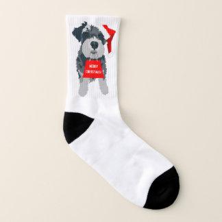 Christmas Schnauzer Dog Santa Hat Fun Socks 1