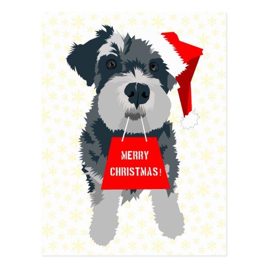 Christmas Schnauzer Dog With Santa Hat Postcard
