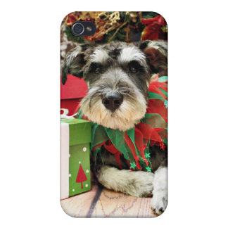 Christmas - Schnauzer - Joey iPhone 4 Cover