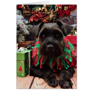 Christmas - Schnauzer Mix - Bentley Greeting Card