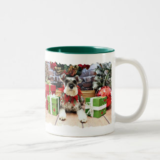 Christmas - Schnauzer - Petunia Two-Tone Coffee Mug