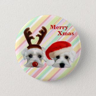 Christmas Schnauzers 6 Cm Round Badge