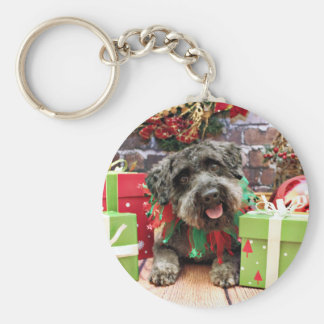 Christmas - Schnoodle - Dexter Basic Round Button Key Ring
