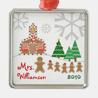 Christmas Schoolhouse Scene - Gingerbread Teacher Christmas Ornament