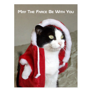 Christmas Sci-Fi Parody Cat Funny Post Card Funny