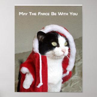 Christmas Sci-Fi Parody Cat Funny Poster Humor