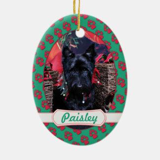 Christmas - Scottie - Paisley Ceramic Oval Decoration