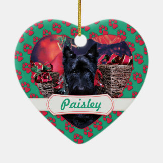 Christmas - Scottie - Paisley Double-Sided Heart Ceramic Christmas Ornament
