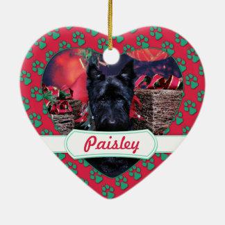 Christmas - Scottie - Paisley Ceramic Heart Decoration