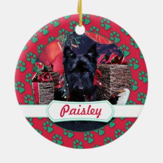 Christmas - Scottie - Paisley Round Ceramic Decoration