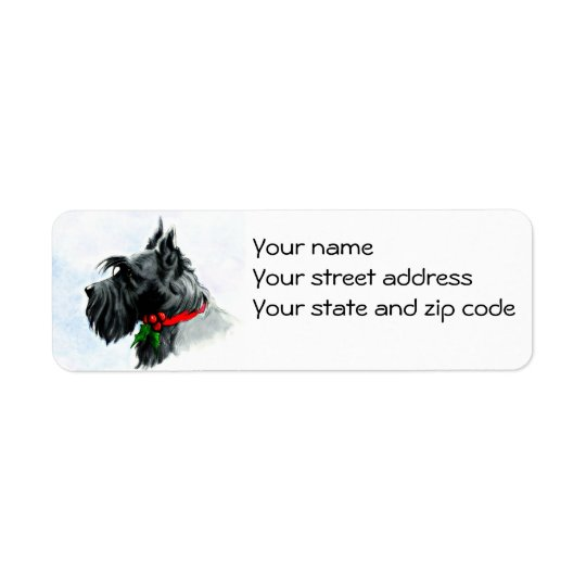 Christmas Scottie return address label