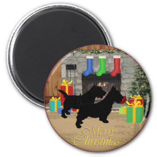 Christmas Scotties by the Fireplace 6 Cm Round Magnet