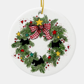 Christmas Scotties Wreath Ornament