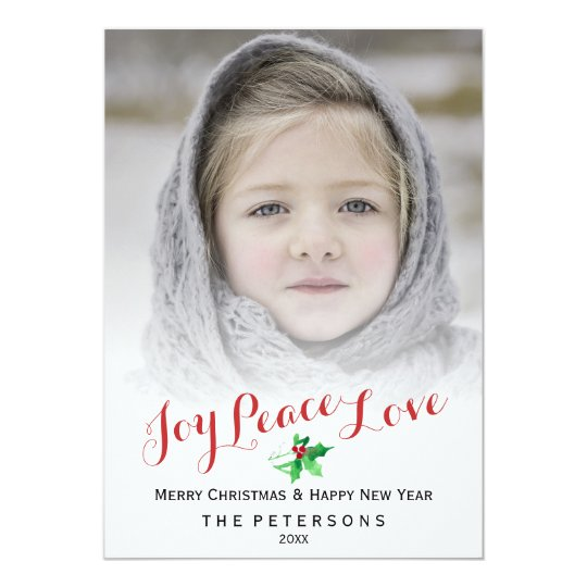 Christmas Script Joy Peace Love Holly Photo Card