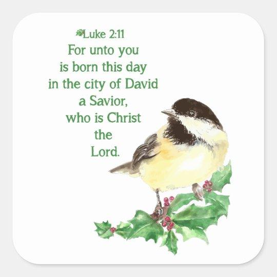 Christmas Scripture Luke 2:11 Chickadee Holly art Square