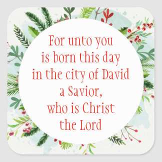 Christmas Scripture Luke 2:11 Watercolor Floral Ar Square Sticker