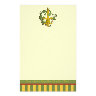 Christmas Scroll Fleur de lis Personalized Stationery