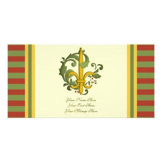 Christmas Scroll Fleur de lis Photo Card Template