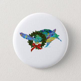 Christmas Sea Turtle 6 Cm Round Badge
