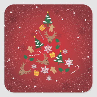 Christmas seal square sticker
