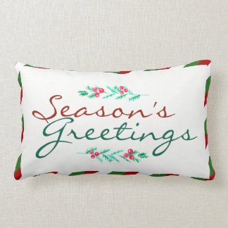 Christmas Season's Greetings Pine & Berries Lumbar Cushion