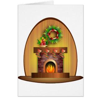 Christmas Seasons Greetings Stockings Fireplace Greeting Card