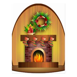 Christmas Seasons Greetings Stockings Fireplace Post Card