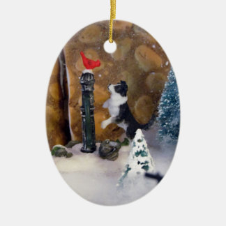 Christmas Secrets Double-Sided Oval Ceramic Christmas Ornament