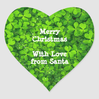 Christmas Shamrock Clovers Green Irish Ireland Heart Sticker