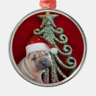Christmas shar pei puppy ornament