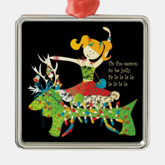 Christmas Share the Jolly Silver-Colored Square Decoration