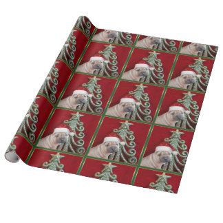 Christmas Sharpei dog Gift Wrapping Paper