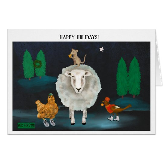 Christmas sheep, hen, robin ice skates painting card