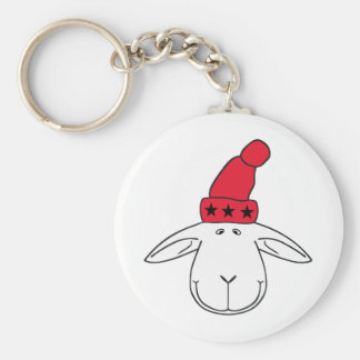 Christmas sheep Josef Basic Round Button Key Ring