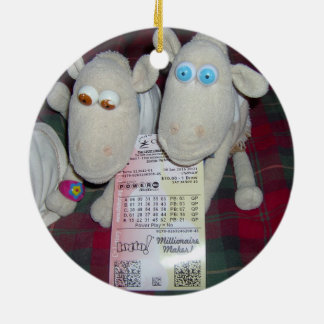 CHRISTMAS SHEEP WITH LOTTERY TICKET ROUND CERAMIC DECORATION