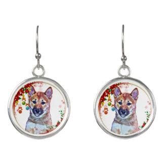 Christmas Shiba Inu Puppy Earrings