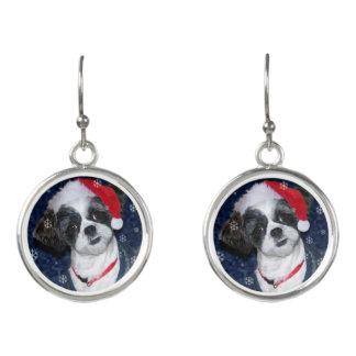 Christmas Shih Tzu Dog Earrings