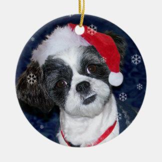 Christmas Shih Tzu Dog Round Ceramic Decoration