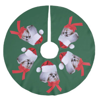Christmas, Shih Tzu Dog, Santa Hat Brushed Polyester Tree Skirt