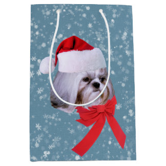 Christmas, Shih Tzu Dog, Santa Hat Medium Gift Bag