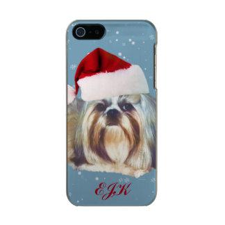 Christmas, Shih Tzu Dog, Santa Hat, Monogram Incipio Feather® Shine iPhone 5 Case