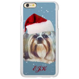 Christmas, Shih Tzu Dog, Santa Hat, Monogram iPhone 6 Plus Case