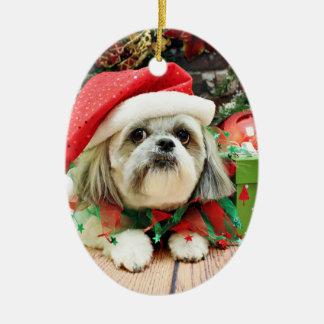 Christmas - Shih Tzu - Gizmo Ceramic Oval Decoration
